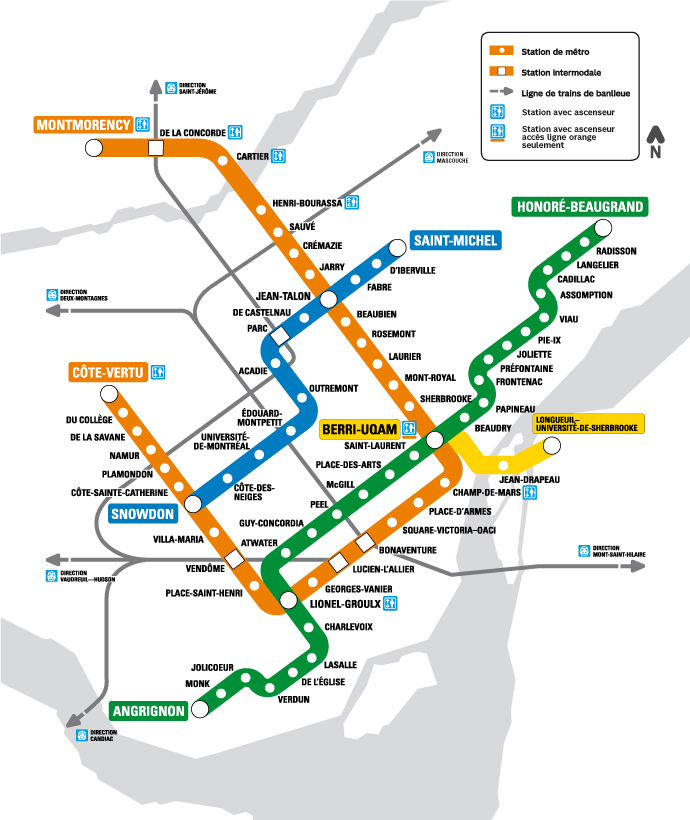 Montreal STM metro map